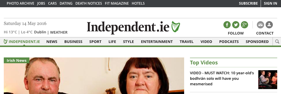 Independent.ie Home Page 14 May 2016